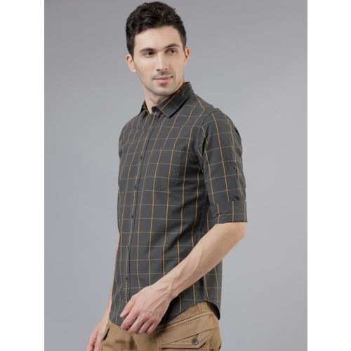 LOCOMOTIVE Men Olive Brown & Mustard Yellow Slim Fit Checked Casual Shirt