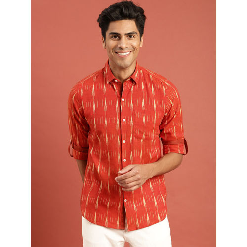 Taavi Men Red Ikat Woven Design Regular Fit Casual Shirt with Roll-Up Sleeves