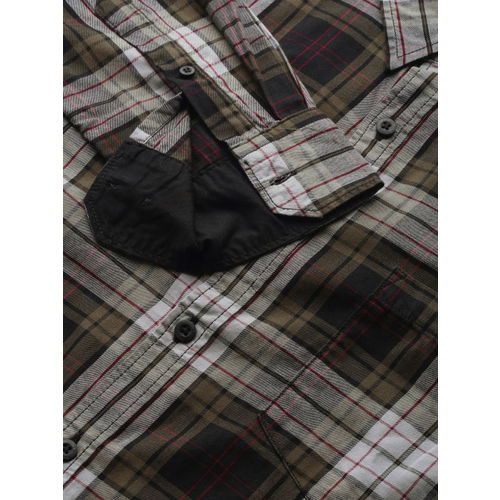 Roadster Men Olive Green & Grey Regular Fit Checked Casual Shirt