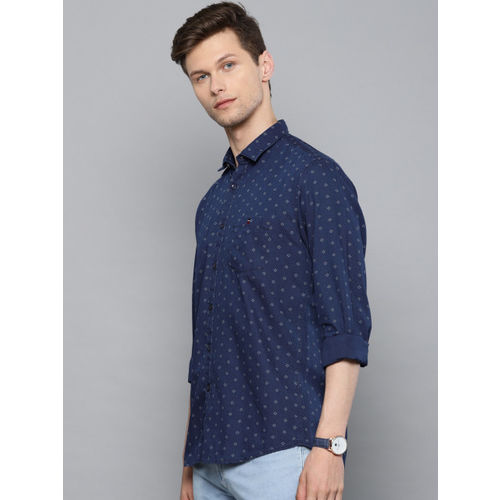 Louis Philippe Jeans Men Navy Blue & White Slim Fit Printed Casual Shirt