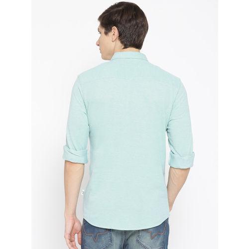 HARBORNBAY Men Sea Green Comfort Regular Fit Solid Casual Shirt
