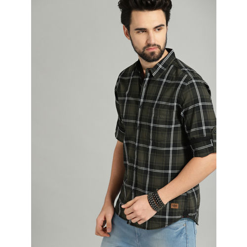 Roadster Men Olive Green & Black Regular Fit Checked Casual Shirt