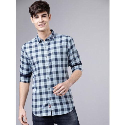 LOCOMOTIVE Men Blue & Grey Slim Fit Checked Casual Shirt