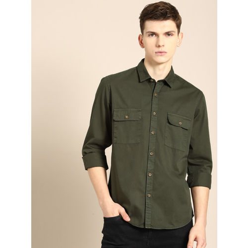 ether Men Olive Green Regular Fit Solid Casual Shirt