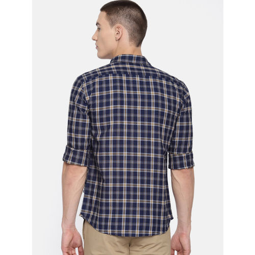 Parx Men Navy Blue Slim Fit Checked Casual Shirt