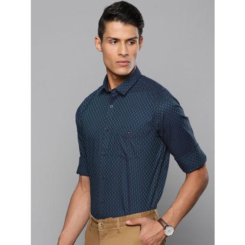 Louis Philippe Sport Men Navy Blue & Purple Super Slim Fit Self Checked Smart Casual Shirt