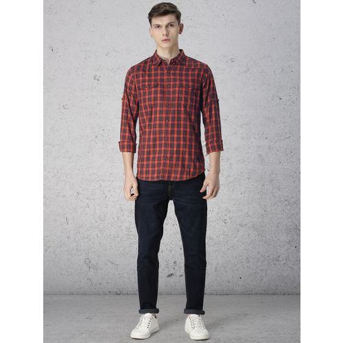 Ecko Unltd Men Rust Orange & Black Checked Casual Shirt