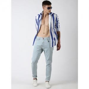 Blue Saint Men Blue & White Slim Fit Striped Casual Shirt