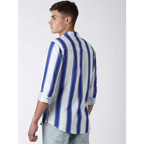 Blue Saint Men Blue & White Slim Fit Striped Casual Shirt