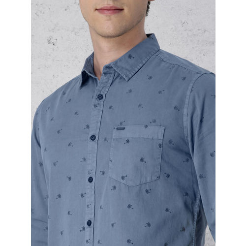 Ecko Unltd Men Blue Slim Fit Printed Casual Shirt