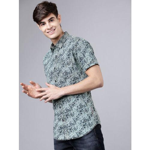 LOCOMOTIVE Men Blue & Green Slim Fit Printed Casual Shirt