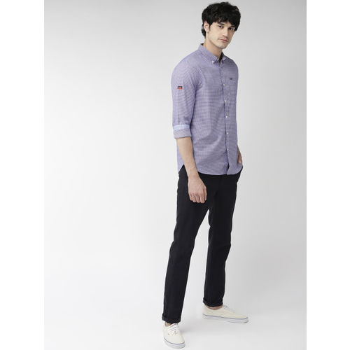 Superdry Men Navy Blue & White Regular Fit Checked Casual Shirt