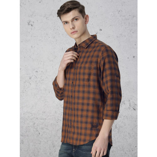 Ecko Unltd Men Mustard Brown & Navy Blue Slim Fit Checked Casual Shirt