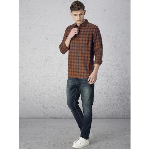 Ecko Unltd Men Mustard Brown & Navy Blue Slim Fit Checked Casual Shirt