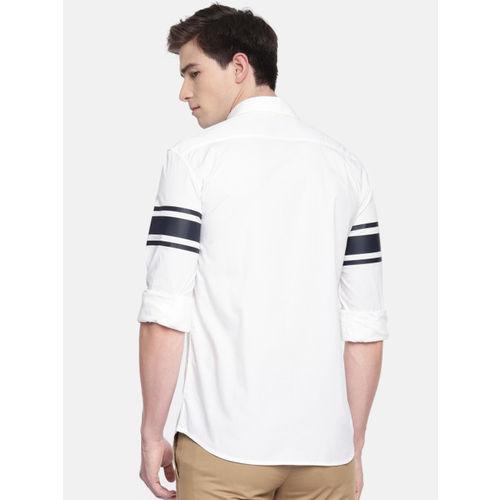 Parx Men White & Navy Blue Slim Fit Solid Casual Shirt