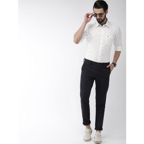 Indian Terrain Men White Slim Fit Printed Casual Shirt