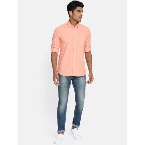 Parx Men Orange Slim Fit Solid Casual Shirt