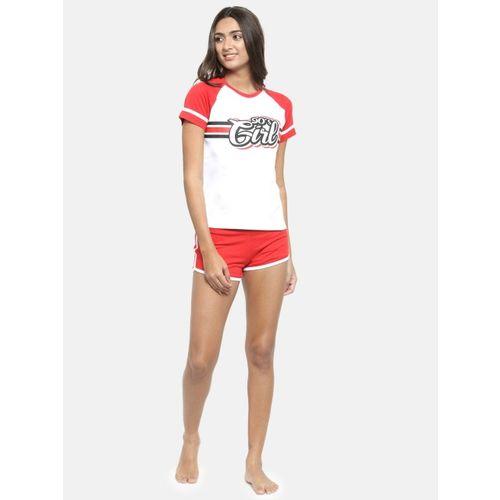 Slumber Jill Women White & Red Printed Night suit