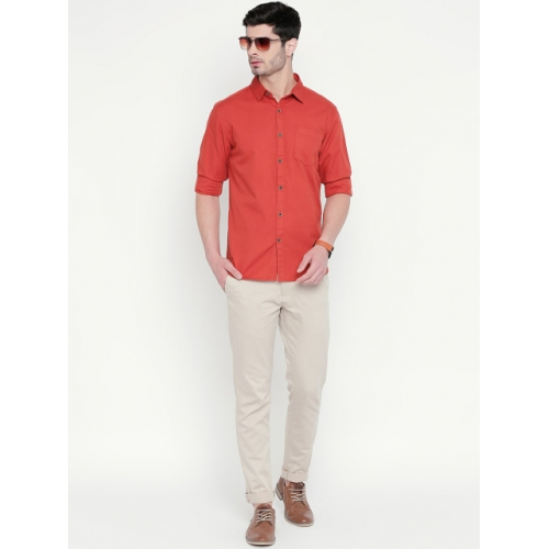 BYFORD by Pantaloons Men Rust Brown Slim Fit Solid Casual Shirt