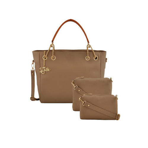 LaFille Beige Pack of 3 Solid Handbags