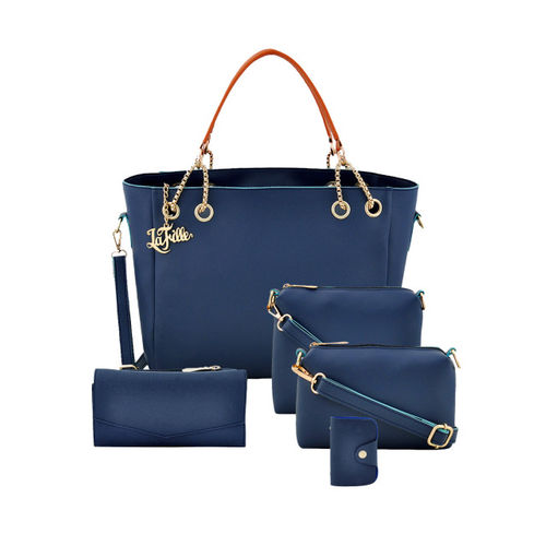 LaFille Blue Pack of 5 Solid Handbags