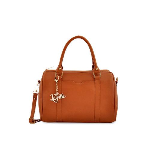LaFille Tan Brown Solid Handheld Bag