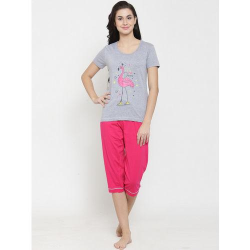 Slumber Jill Grey & Pink Printed Lounge Set FS-031