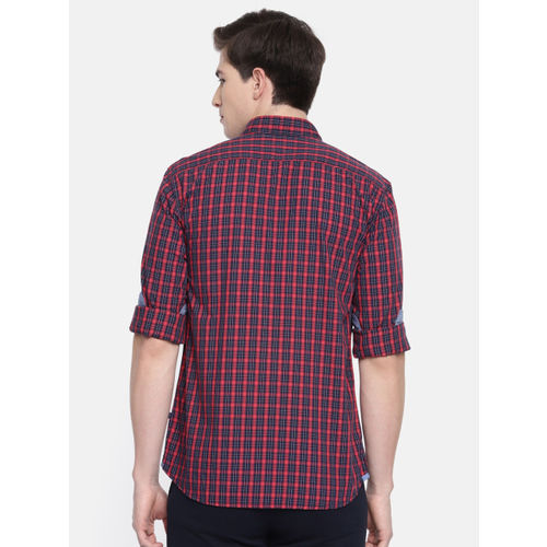 Parx Men Red & Navy Slim Fit Checked Casual Shirt