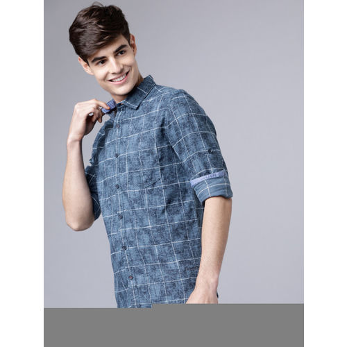 LOCOMOTIVE Men Blue Slim Fit Checked Casual Shirt