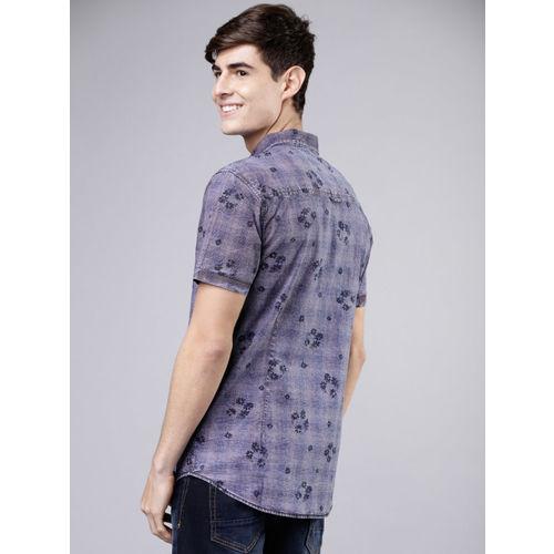 LOCOMOTIVE Men Blue & Pink Slim Fit Printed Casual Shirt