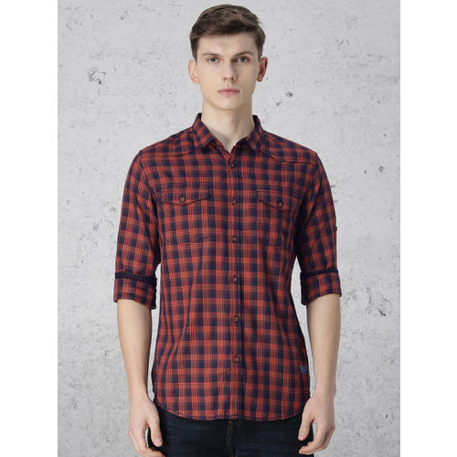 Ecko Unltd Men Navy Blue & Rust Orange Checked Casual Shirt