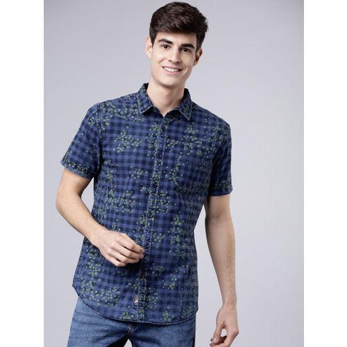 LOCOMOTIVE Men Blue & Green Slim Fit Checked Casual Shirt