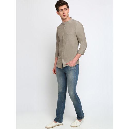 Crocodile Men Brown Slim Fit Solid Casual Shirt