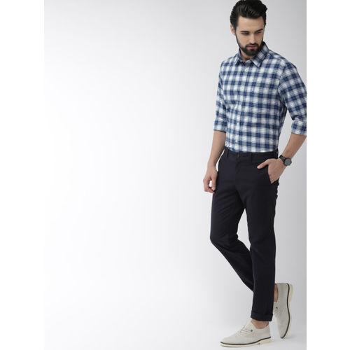 Indian Terrain Men Blue & White Slim Fit Checked Casual Shirt