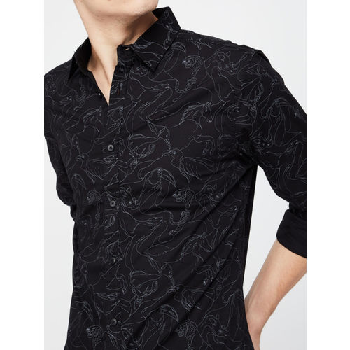 Forca Men Black Slim Fit Printed Casual Shirt