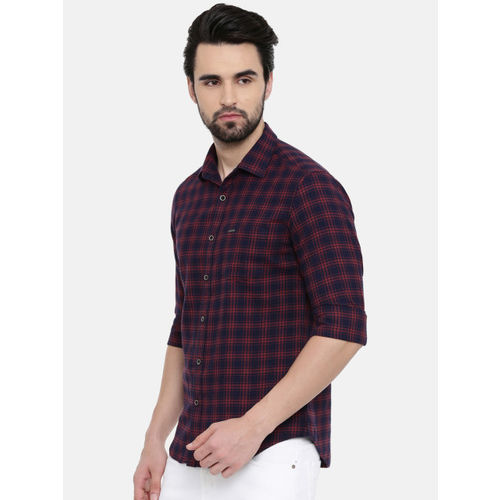 IMYOUNG Men Red & Navy Blue Slim Fit Checked Casual Shirt