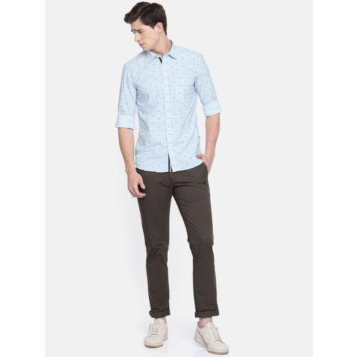 Parx Men Blue Slim Fit Printed Casual Shirt