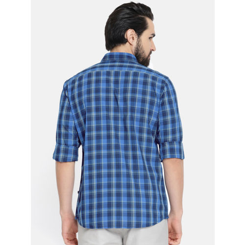 Parx Men Navy Blue & Grey Regular Fit Checked Casual Shirt