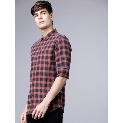 LOCOMOTIVE Maroon & Brown Slim Fit Checked Casual Shirt