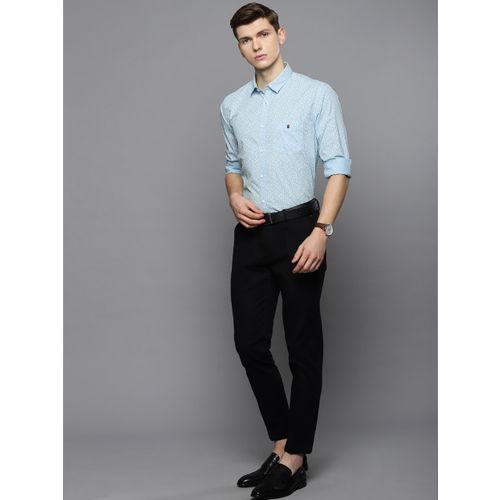 Louis Philippe Sport Men Blue & White Super Slim Fit Printed Smart Casual Shirt