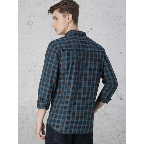 Ecko Unltd Men Teal Blue & Black Slim Fit Checked Casual Shirt
