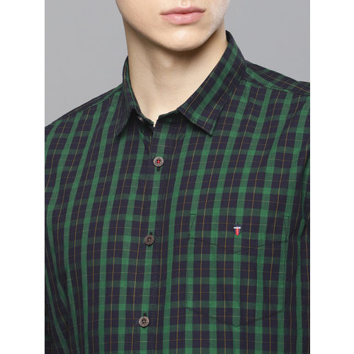 Louis Philippe Sport Men Green & Navy Blue Super Slim Fit Checked Smart Casual Shirt
