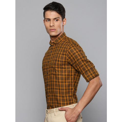 Louis Philippe Sport Men Mustard Brown Super Slim Fit Checked Smart Casual Shirt