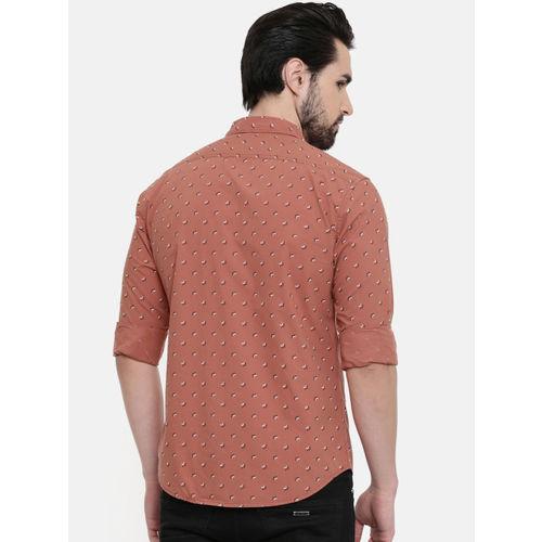 IMYOUNG Men Rust Orange Slim Fit Printed Casual Shirt