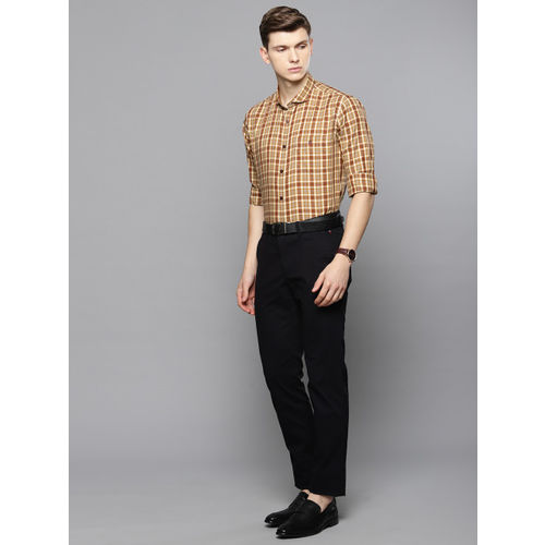 Louis Philippe Sport Men Beige & Brown Super Slim Fit Checked Smart Casual Shirt