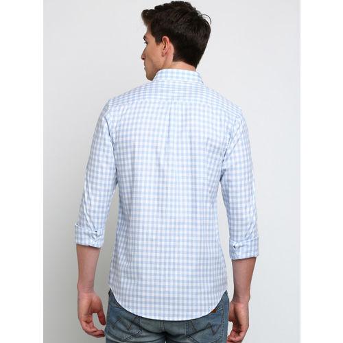 Crocodile Men Blue Slim Fit Checked Casual Shirt
