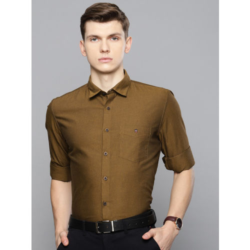 Louis Philippe Sport Men Mustard Yellow & Black Super Slim Fit Solid Smart Casual Shirt