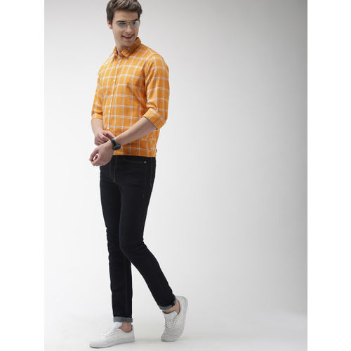 Mast & Harbour Men Mustard Yellow & Blue Checked Casual Shirt