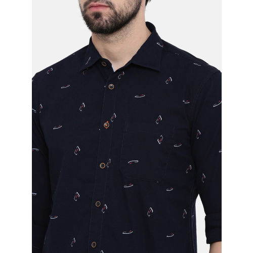 IMYOUNG Men Navy Blue Slim Fit Printed Casual Shirt
