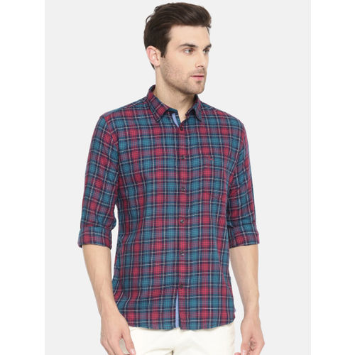 Parx Men Red & Teal Blue Slim Fit Checked Casual Shirt